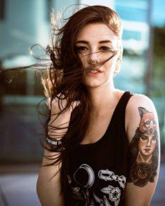colorful woman portrait forearm tattoos for women design