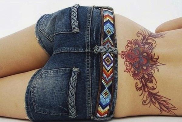 unique designs lower butt tattoo for women