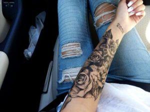 black rose unique arm tattoo ideas for females