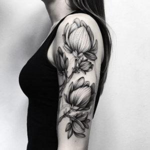 black floral arm sleeve tattoo design images