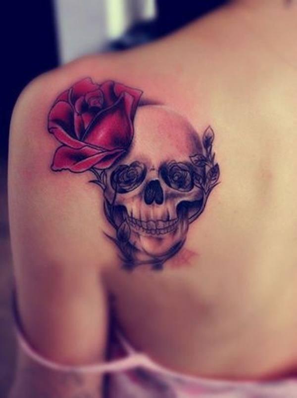 skull rose tattoo design for womens back shoulder