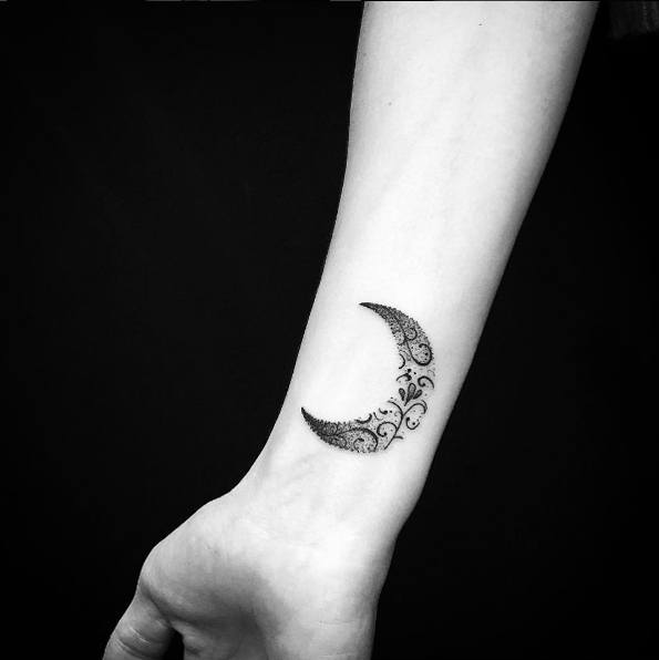 floral moon unique wrist tattoos for females