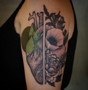 heart flowers shoulder and arm tattoos for ladies