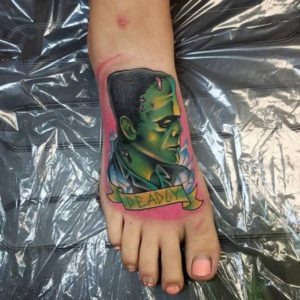 feminine foot tattoos color portrait ideas