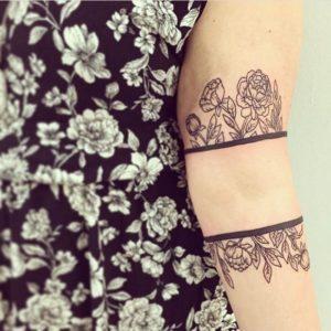 cute arm flower tattoos for females small design