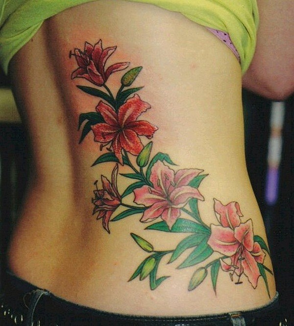 colourful flower  back butt tattoo design  for ladies and women