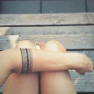 black tribal armband tattoo for ladies