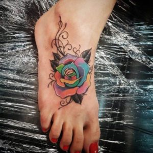 color rose foot tattoo ideas