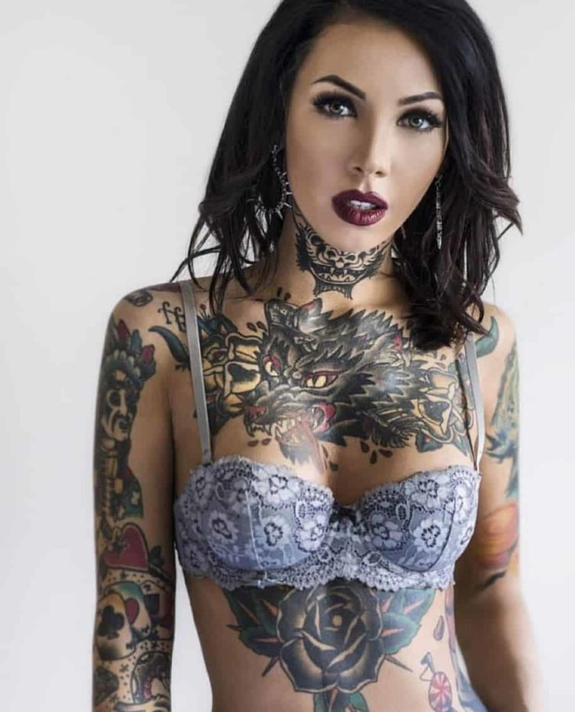 wolf tattoo ladies chest design images