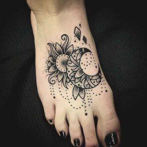 mandala flower and moon foot leg tattoo designs