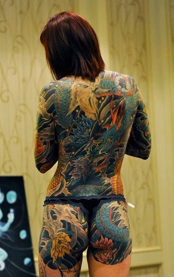colourful tattoo for girls on back images
