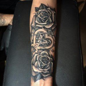 temporary black roses feminine arm tattoos designs