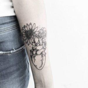 ladies lower arm tattoos sunflower designs