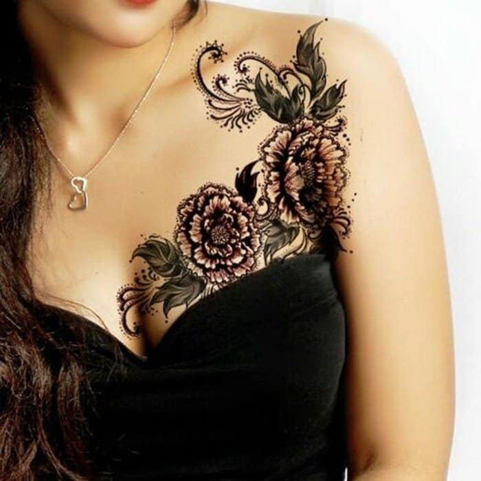 flower sexy chest tattoos for ladies