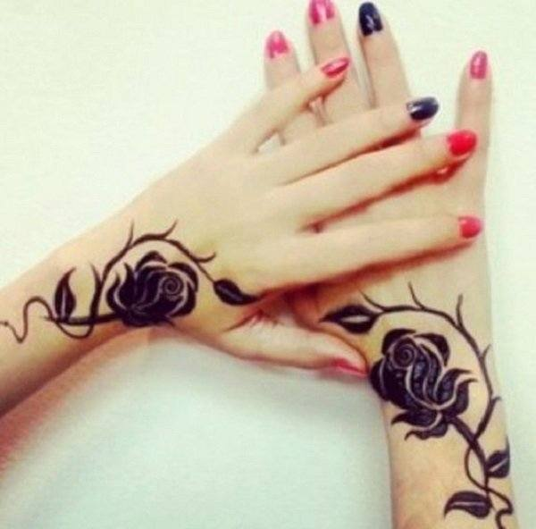 black rose delicate wrist tattoos for ladies