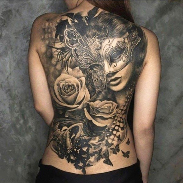 black rose beautiful back tattoos for females images