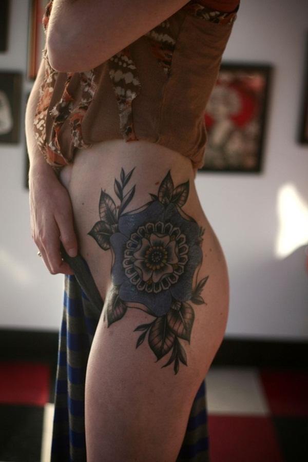 mandala flower butt tattoo design  woman