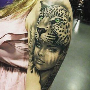 women's lower tiger full arm tattoo designs