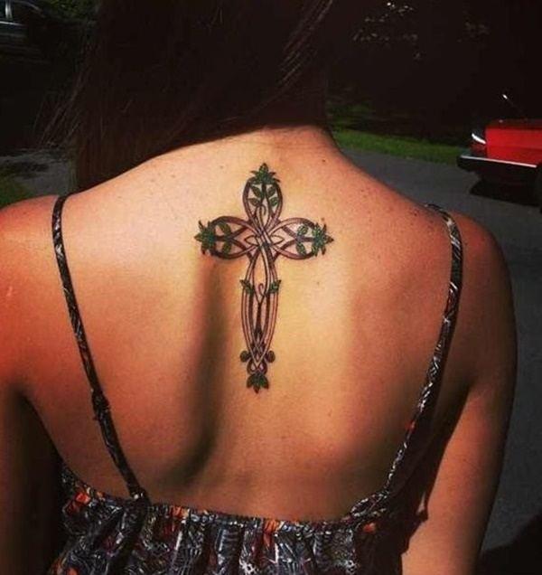 cross symbol womens back tattoo ideas images