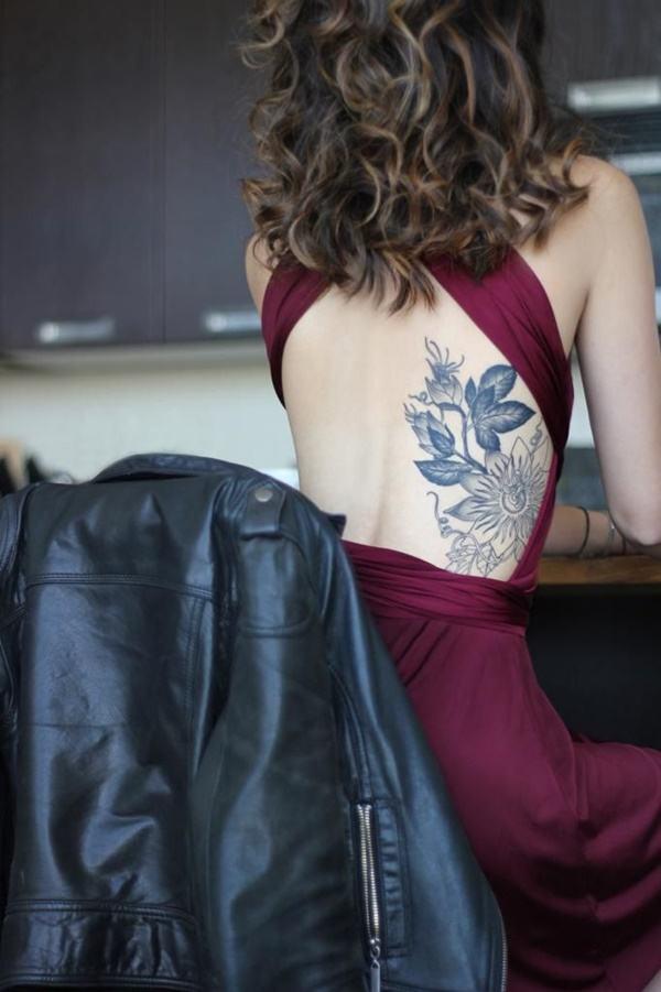 best flower tattoo for girl back side