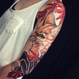 fox colors beautiful female forearm tattoos