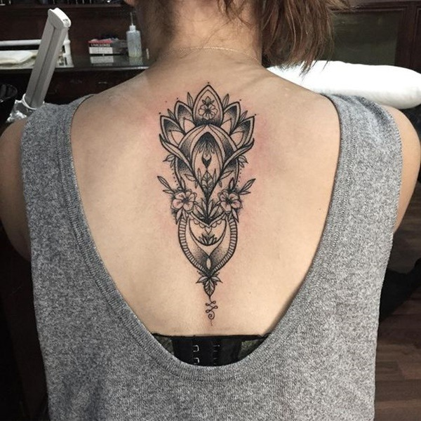 mandala flower ladies full back tattoo