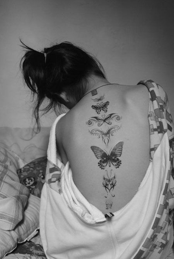 butterfly small tattoo design for womens back