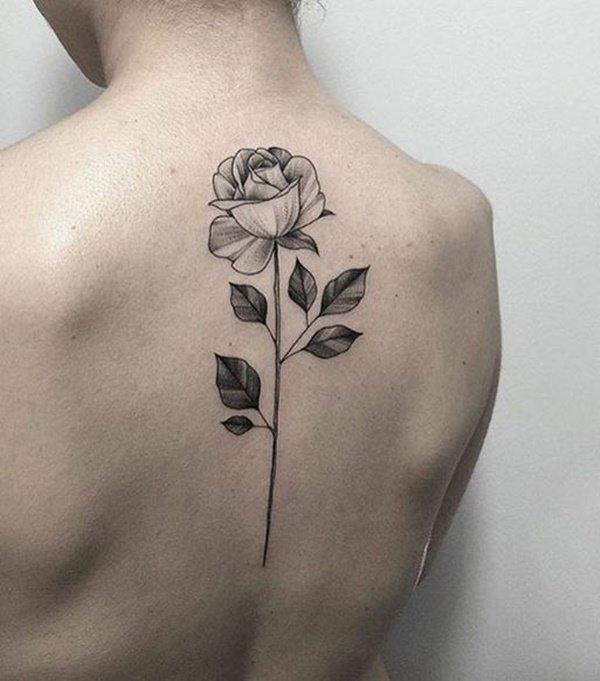 rose ladies back shoulder tattoos