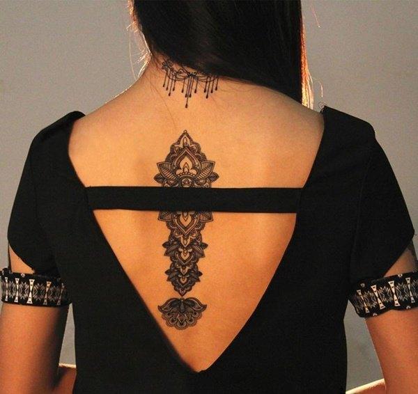 mandala back small tattoo for girl images