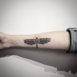 black small  insects arm tattoos for ladies