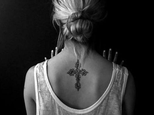cross back piece tattoo female images