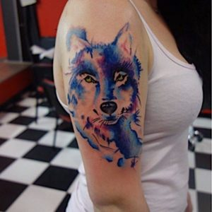 abstract colors walf arm tattoos for women