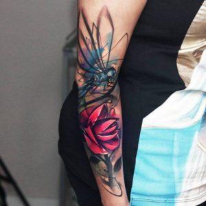 color rose sleeve tattoo female on arm