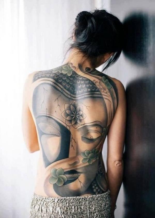 buddha big back tattoos for females