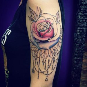 rose arm sleeve tattoos for females