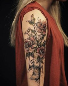 full sleeve roses tattoo for female on forarm images