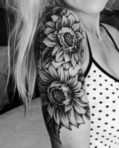 black full sunflower tattoo design arm for girl
