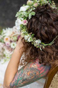 colourful shoulder tattoo design for girl