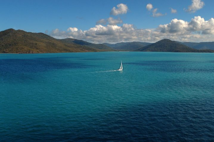 The Great Barrier Reef runs