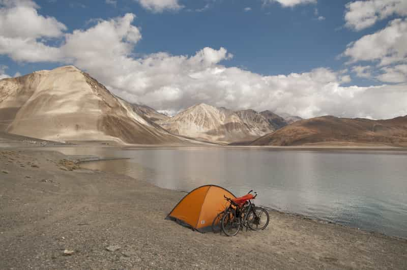 Pangong Lake, situated at a height of 4350 metres in the Himalayas