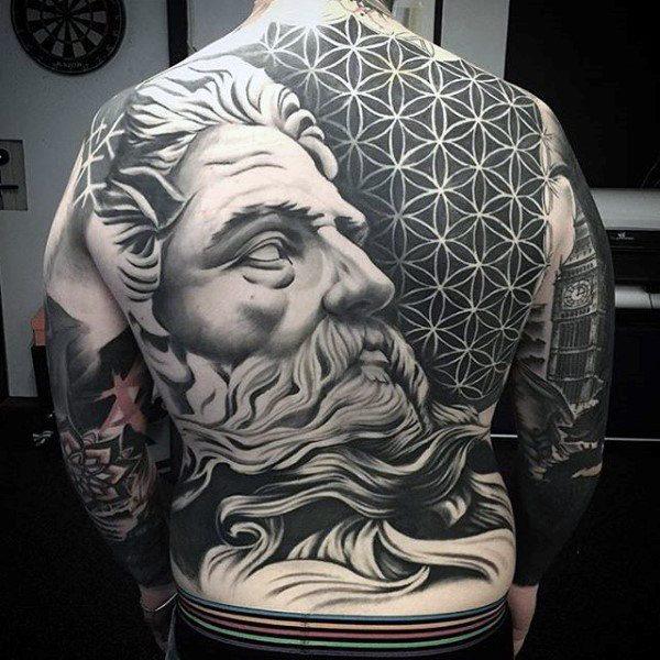 portrait full back temporary tattoo for men design images