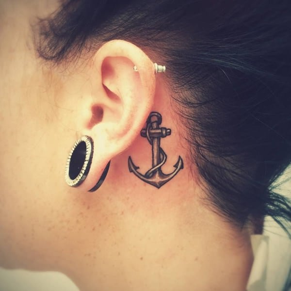 55 + Pretty Behind the Ear Tattoos For Women