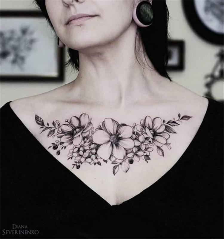 chest tattoos for women design pictures