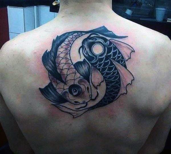 men back yin yang koi fish tattoo meaning design