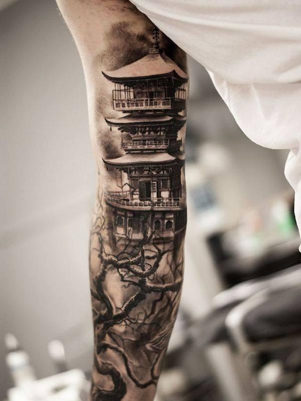 men arm oriental tattoo design full sleeve