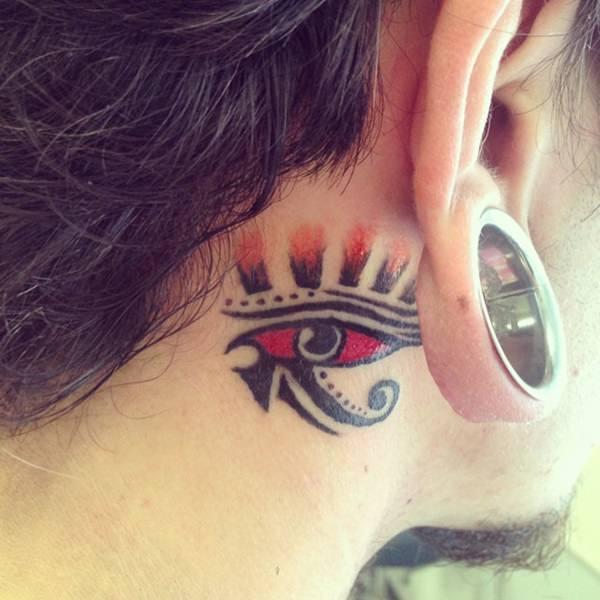 egyptian eye behind the ear tattoos design