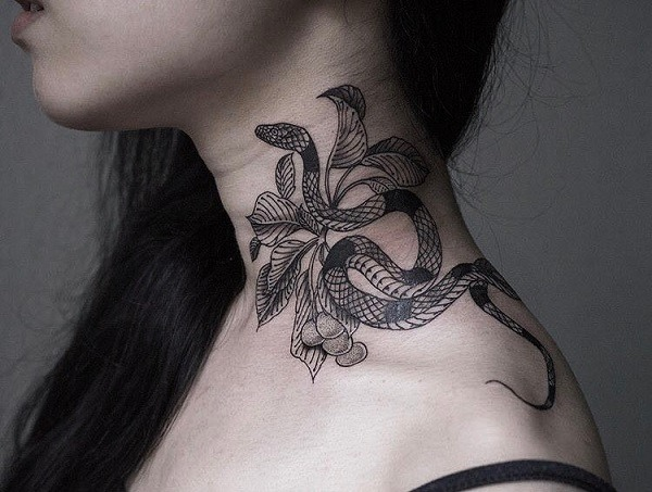 top snake tattoo patterns on female neck