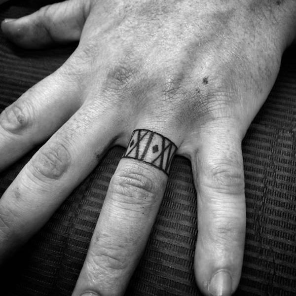 temporary mens wedding ring tattoo ideas design