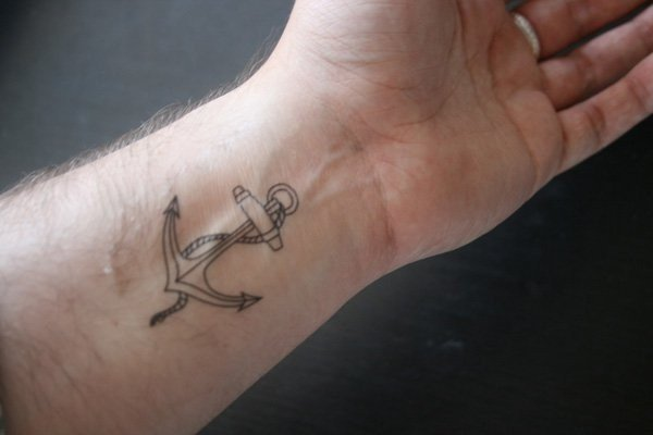 anchor wrist tattoos for men small