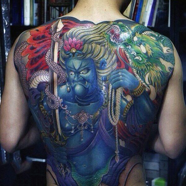 colour yakuza tattoo full back men images
